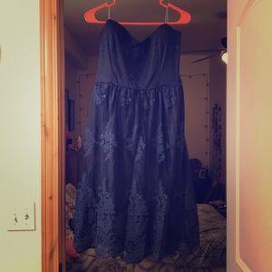 Strapless Navy Lace Dress